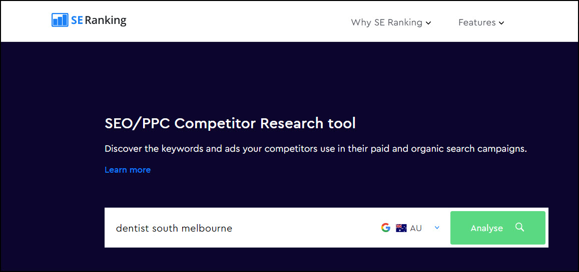 SE Ranking home page search