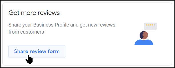 Screenshot of Google My Business Get Reviews link