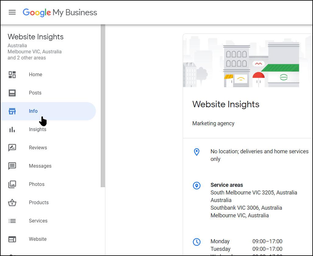 Screenshot of Google My Business Info
