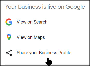Screenshot of Google My Business Share your profile