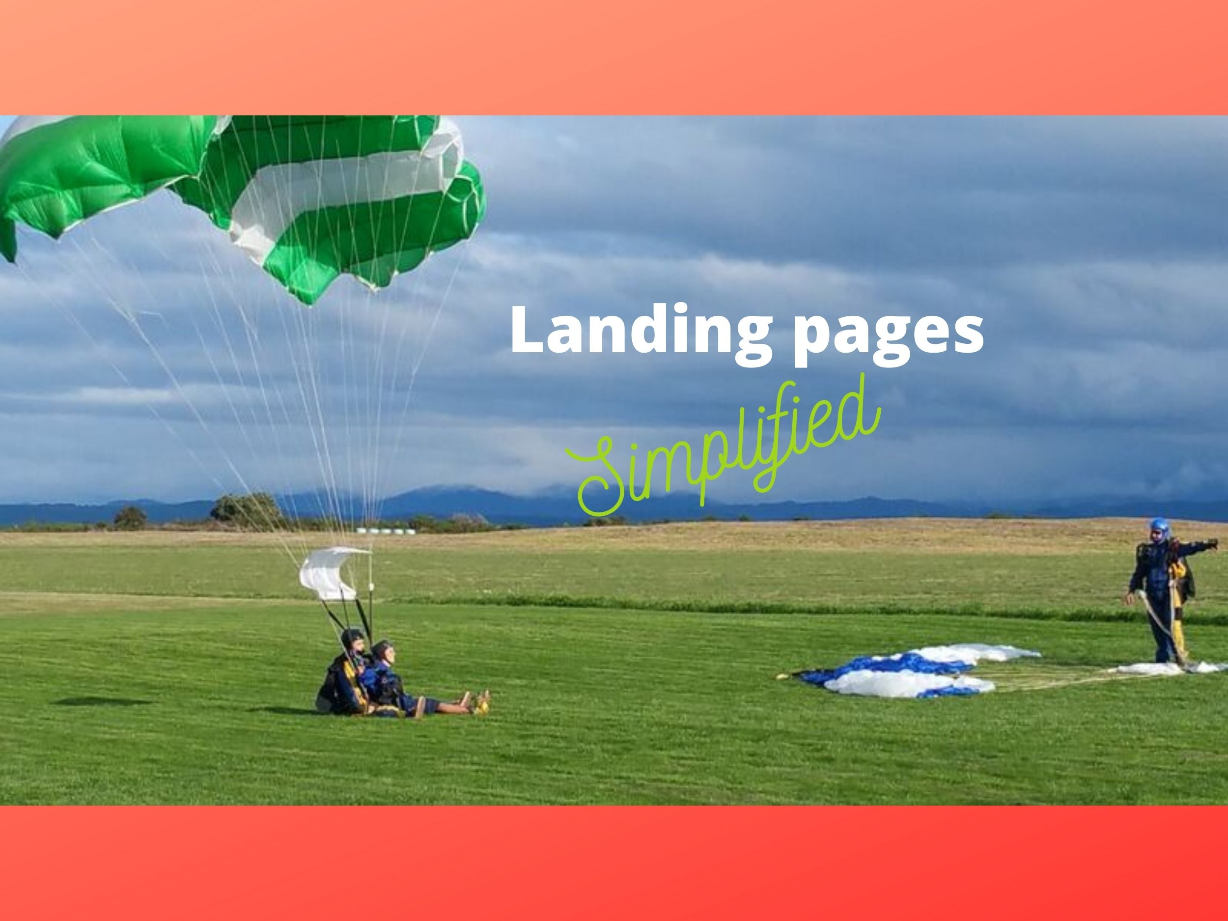 Tandem skydivers landing