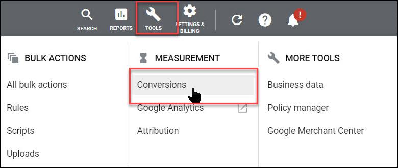 Google Ads conversions menu