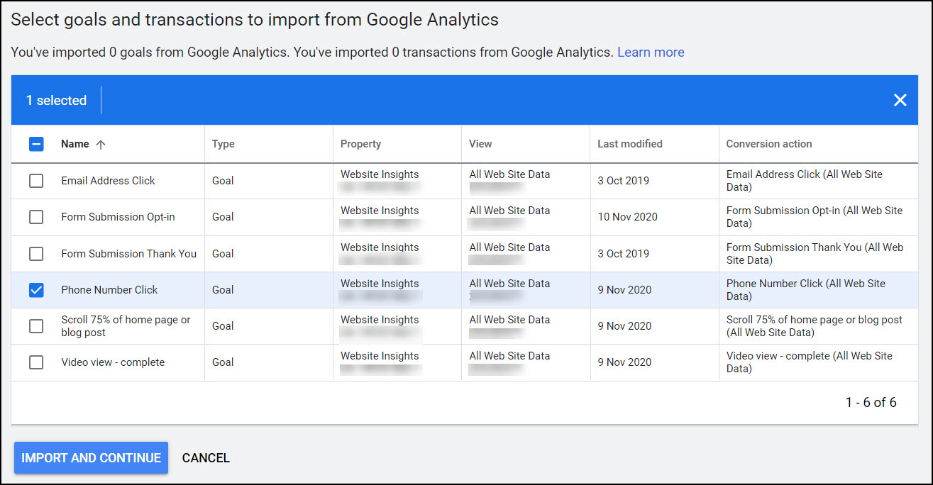 Google Ads - select Analytics goals to import