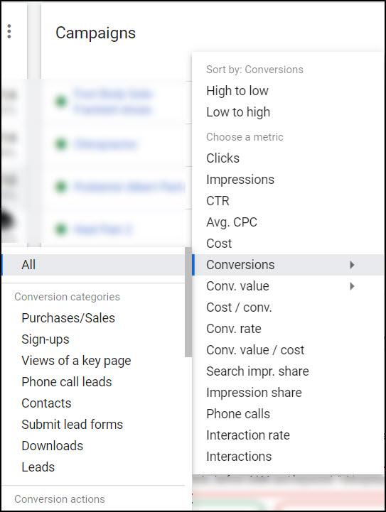 Google Ads campaign conversions metrics