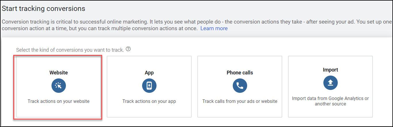 Google Ads conversion - website conversion