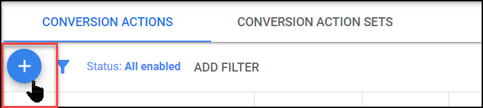 Google Ads - start new conversion